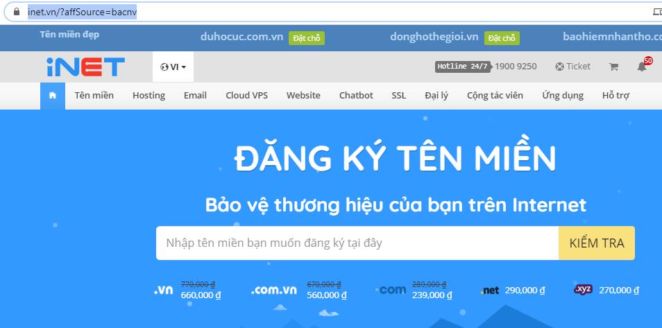 Đăng ký hosting tặng tên miền quốc tế. com .net